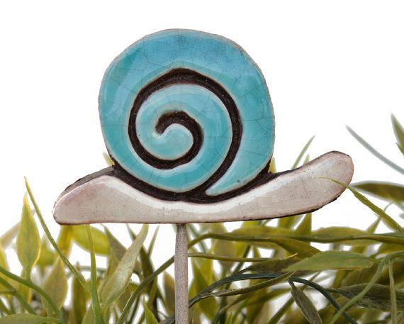 snail garden art - plant stake - garden decor - lawn ornament - large turquoise ceramic snail