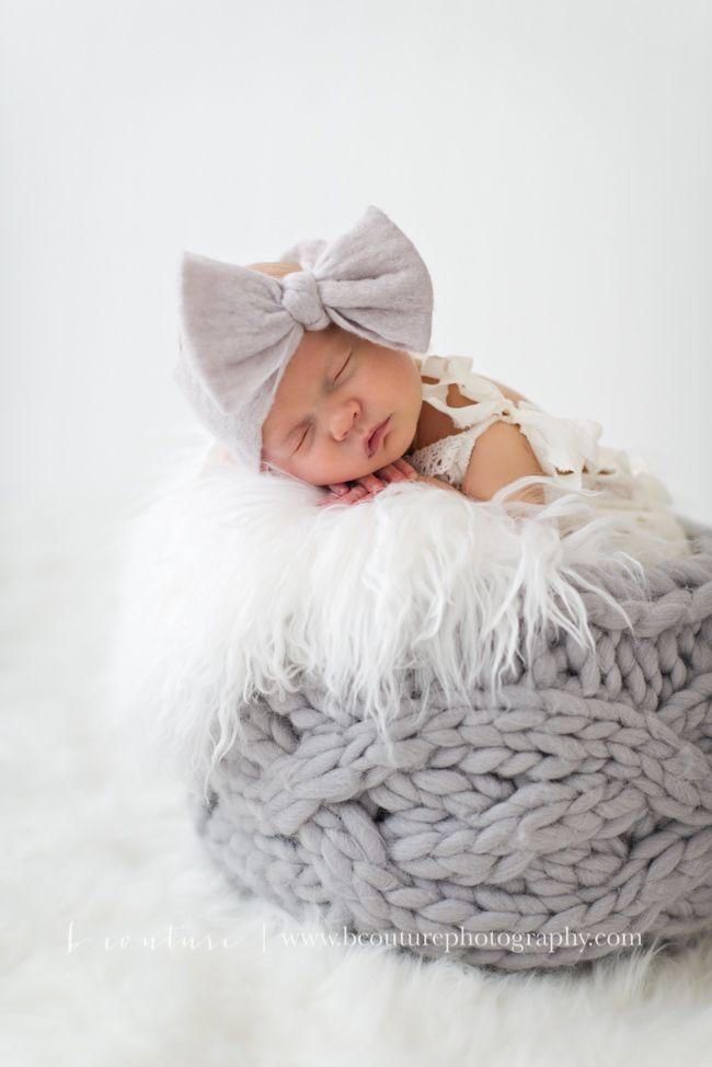Organic...Chic...Newborn Baby Girl.  Grey and White Newborn Photography B Couture Photography