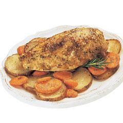 Herbed Chicken & Vegetables 2 med. potatoes (about 1 lb.), thinly sliced 2 med. carrots, sliced 4 bone-in chicken breast halves (2 lbs.) 1 envelope Lipton® Recipe Secrets® Savory Herb with Garlic Soup Mix 1/3 c. water 1 Tbsp. olive oil 425° oven. potatoes and carrots; arrange chicken on top. Pour Soup Mix blended with water & olive oil over chicken and vegetables. Bake uncovered 40 minutes
