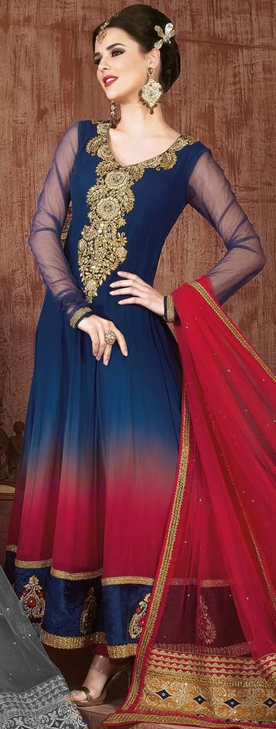 $95.24 Blue Full Sleeve Faux Georgette Long Anarkali Salwar Kameez 21690