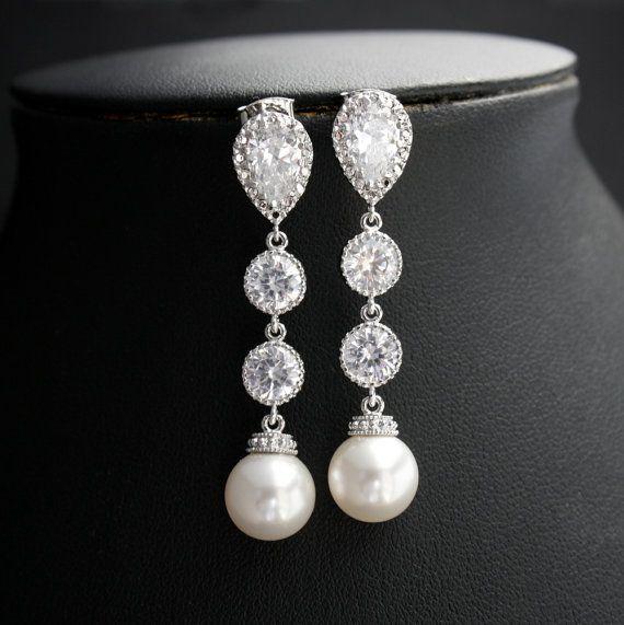 Wedding Pearl Jewelry Bridal Earrings Cubic by poetryjewelry, $38.50