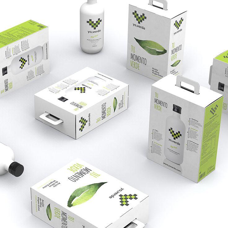 Diseño de packaging yo, verde. Aceite de oliva virgen extra. Cosecha temprana.