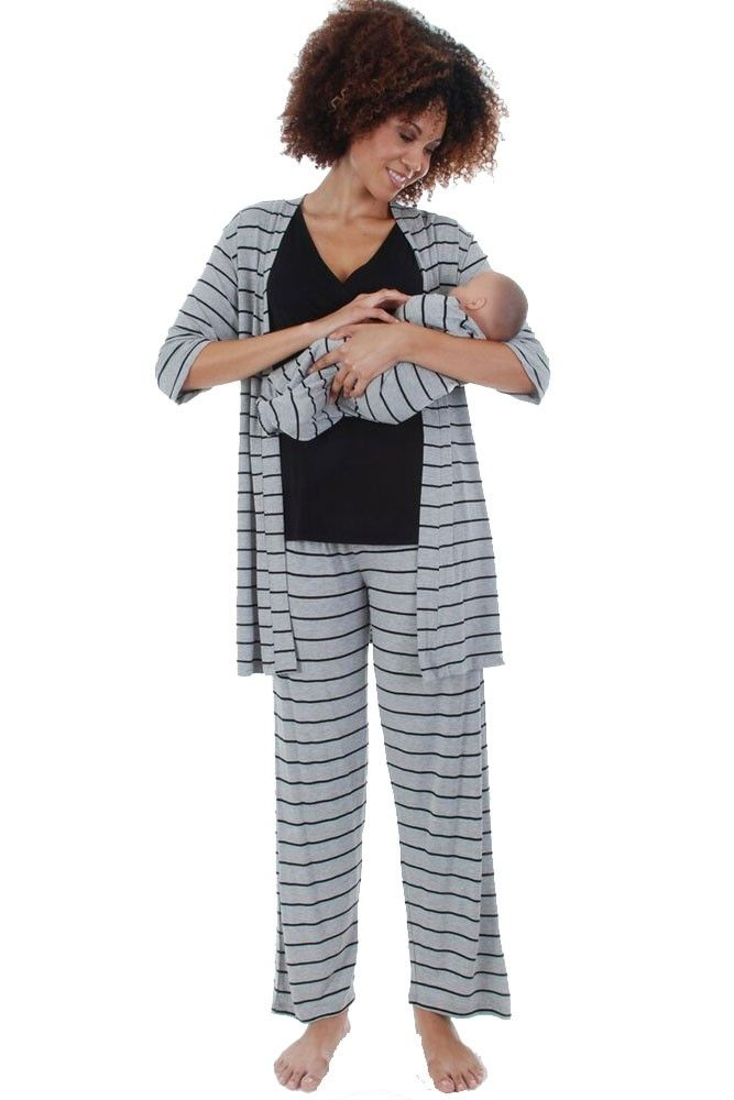 Roxanne 5-pc. Nursing PJ Set with Baby Gown & Gift Bag in Heather Grey Stripes by Everly Grey