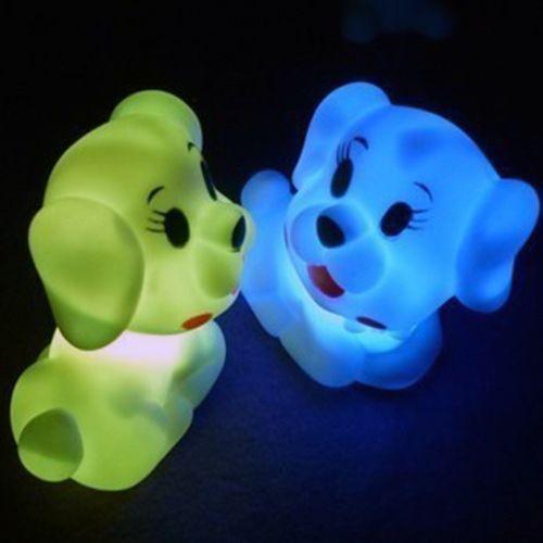 Barato Iluminação colorida de filhote de cachorro noite lâmpada LED com de poupança de energia lâmpada dentro e 3 pcs AG13 bateria de célula de energia, Compro Qualidade Luzes noturnas de LED diretamente de fornecedores da China:             Frete grátis iluminação colorida Cachorrinho Noite lâmpada LED com lâmpada de poupança de energia dentro e 3
