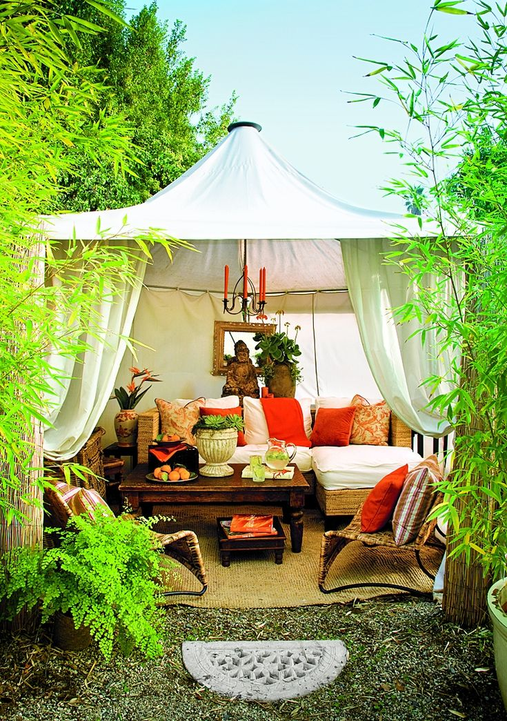 Tent a corner of the garden to create your own lofty cabana for a glamorous hideaway just steps from the back door. Similar to shown: 10-by-10-foot Mandalay Gazebo Canopy, about $220; Ace Canopy