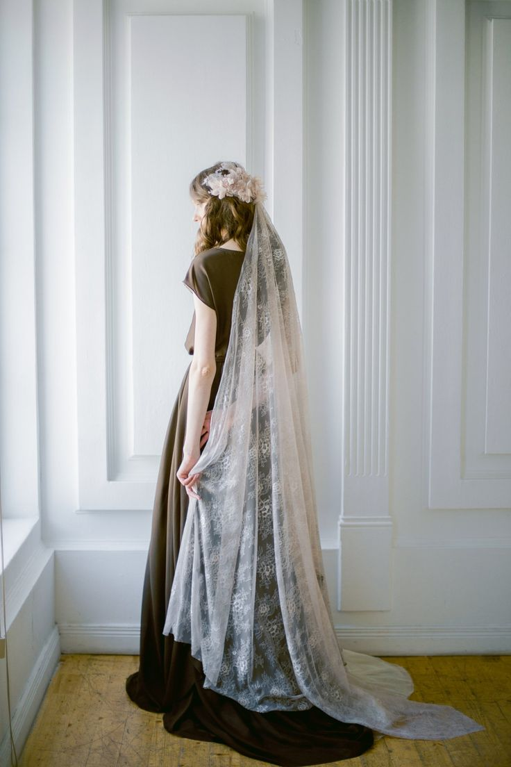 Cafe lace wedding veil with hand-sewn textile headpiece