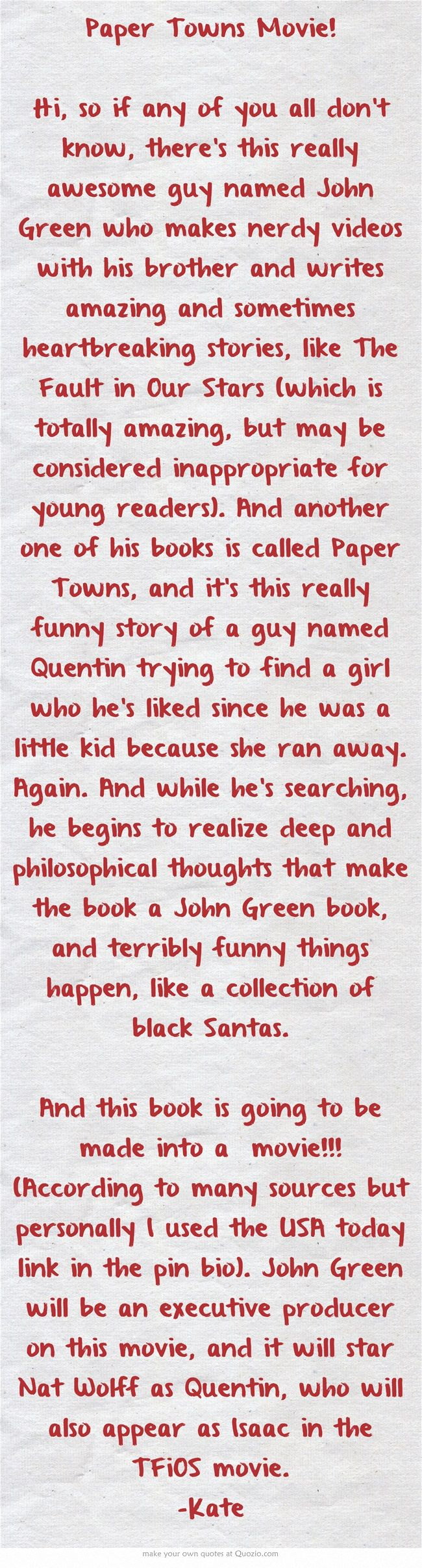 paper towns by john green Read book: paper towns by john green online free online reading paper towns is available you can read book paper towns by john green in our library for absolutely free.
