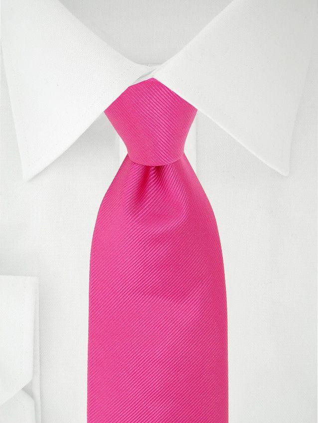 Cravate unie rose fushia à 7 plis