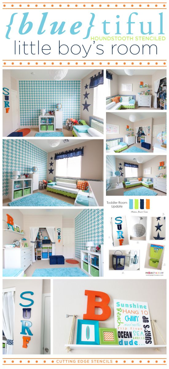 houndstooth stenciled blue kids bedroom is absolutely stunning love the bold accent wall http boys room ideasboys