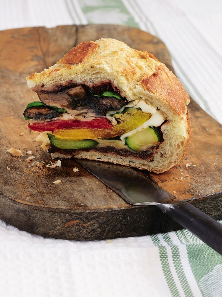 'Pan bagnat' is a loaf hollowed out and stuffed with grilled vegetables. A lunch or picnic recipe with a difference.