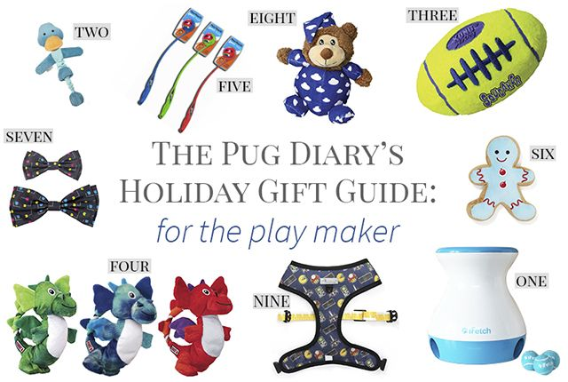 Calling all toy loving pugs... you need to check out this holiday gift guide with some of the best gift ideas to tell the human you want for Christmas. Every one of these gift ideas is available online so your human has no excuse to not get you something off your wish list. http://www.thepugdiary.com/2017-holiday-gift-guide-pugs-play-maker/