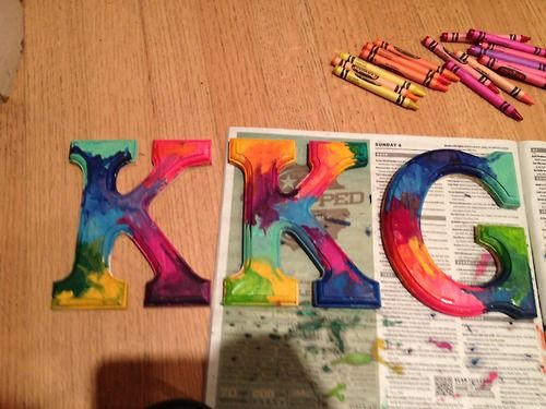 crayon melt on letters. loveeee this idea! I wanna try it!