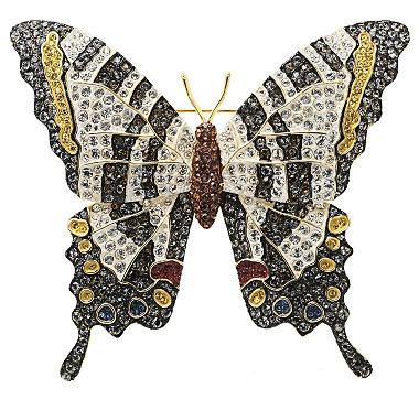 Joan Rivers Pave Zebra Swallowtail Butterfly Brooch