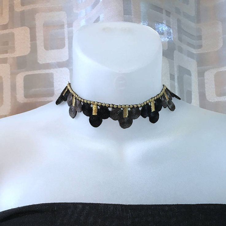 Bollywood inspired choker, ornate, original, gold, black & silver embroidery, get noticed by CovetByTannis on Etsy