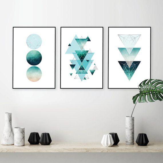 Aqua Teal Turquoise And Silver Geometric Wall Art Set Of 3 Etsy Geometric Wall Art Wall Art Sets Printable Art