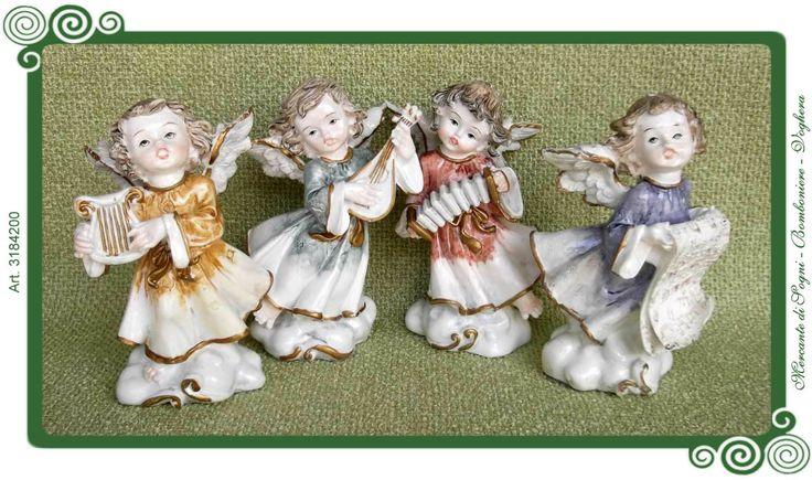"""Mercante di Sogni - Voghera - Bomboniere e Stampati dal 1969 - Vendita ai privati: Collezioni Classic: angeli cantori  Collezione """"CLASSIC"""" ANGELI CANTORI  4 Soggetti assoriti H.11,5cm. Arpa - Mandolino - Fisarmonica - Pergamena  Articoli adatti alla cerimonia della Comunione  Read more: http://mercantedisognivoghera.blogspot.com/2015/08/collezioni-classic-angeli-cantori.html#ixzz3kEsprzzh"""