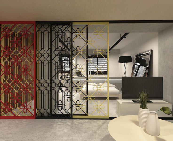 partition, sliding door, vintage, retro, bedroom