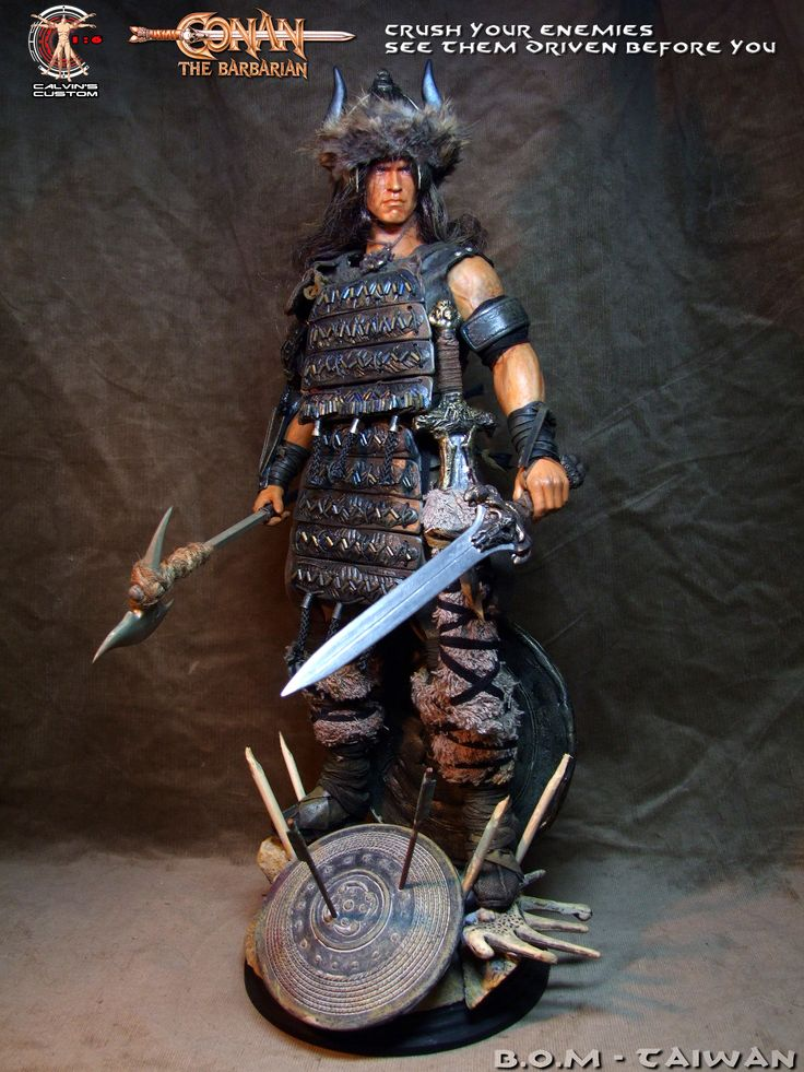 Calvin's Custom One Sixth Scale Arnold Schwarzenegger as Conan the Barbarian and Conan the Destroyer figures.