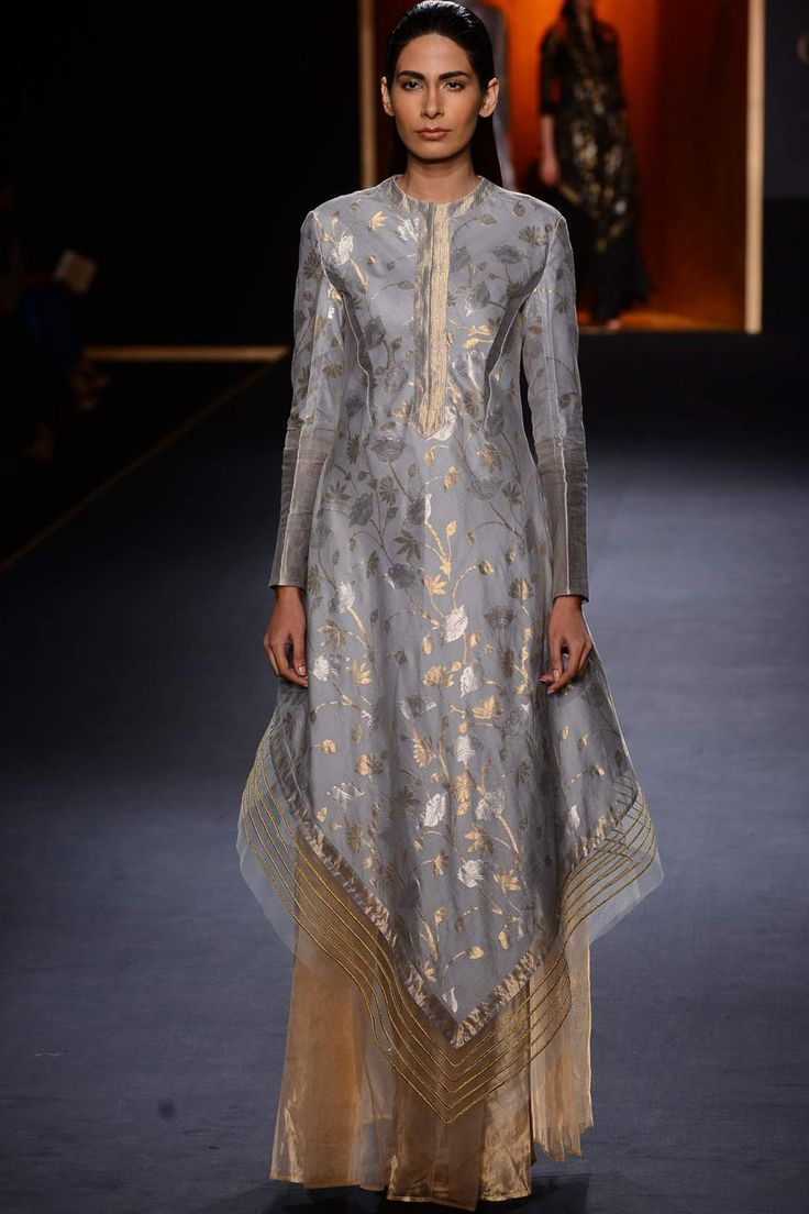 Powder blue hand woven kamal jaal assymetric dress kurta by Rahul Mishra #rahulmishra #aicw #aicw2015