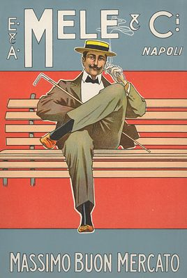 "By Aleardo Villa (It.), Massimo Buon Mercato, Mele Napoli (Department store of Naples). From ""Ricordi Portfolio"" a serie of greatest Italian posters printed between 1895 & 1914."