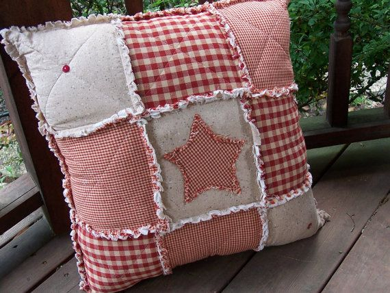 Red Homespun Rag Pillow, Fully STUFFED, Primitive Country, Star Applique with Buttons - Handmade in NJ -