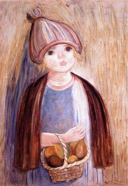 Girl With Pears Tadeusz Makowski, Polish 1882-1932