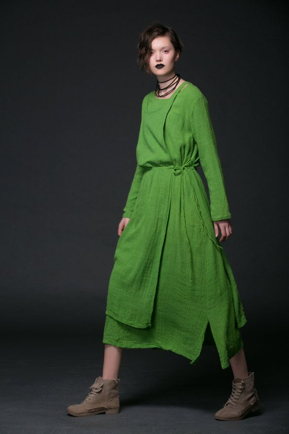 Green Linen Dress - Maxi Long Layered Long Sleeved Women Dress - 2015 New Collection
