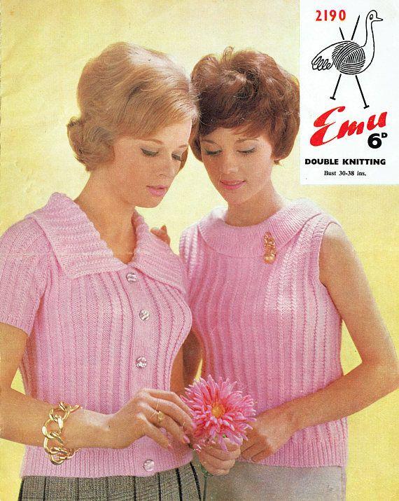 PDF 1960s Womens Ladies Knitting Pattern Twin Set Fitted
