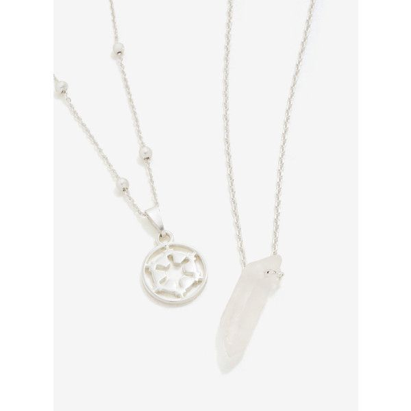 Star Wars Imperial Silver & Quartz Necklace Set ($24) ❤ liked on Polyvore featuring jewelry, galaxy jewelry, quartz charm, cosmic jewelry, silver jewelry and silver charms
