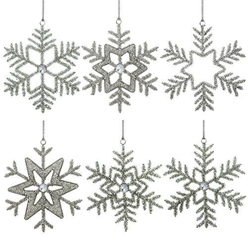Set of 6 Handmade Snowflake Iron and Glass Pendant Party Ornaments, 6 Inches ShalinIndia http://www.amazon.com/dp/B00LSNLF7K/ref=cm_sw_r_pi_dp_PCJJvb1R1SSXC