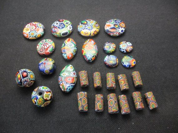 Lot of 27 Beautiful Vintage Millefiori Mosiac Beads of Various Sizes- Murano style