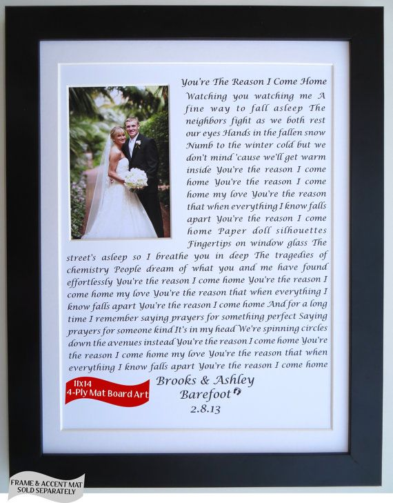 Anniversary Gift Ideas For Him Her Husband Wife Wedding Vows Song Lyrics Personalized Picmats 40 00 Dyi Gifts