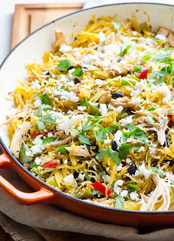 Tex Mex Leftover Turkey Spaghetti Squash - 15 minute healthy dinner idea for a hectic weeknight.