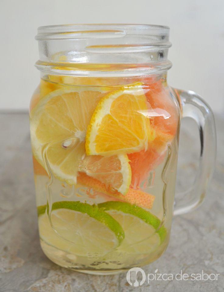 Agua con cítricos  (agua infusionada) www.pizcadesabor.com
