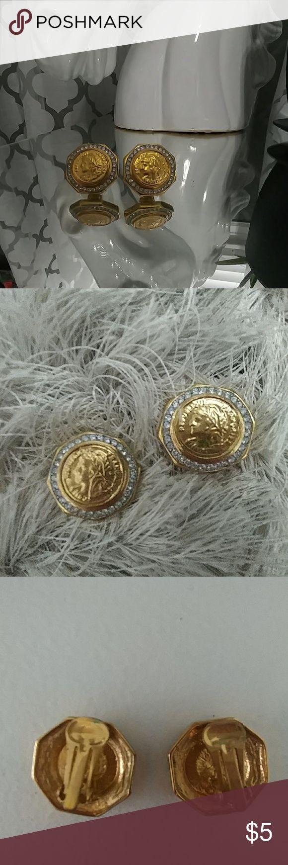 💕 Final Sale 💕Clip Back Roman Coin Earrings Gold, Rhinestones, Clip backs Jewelry Earrings