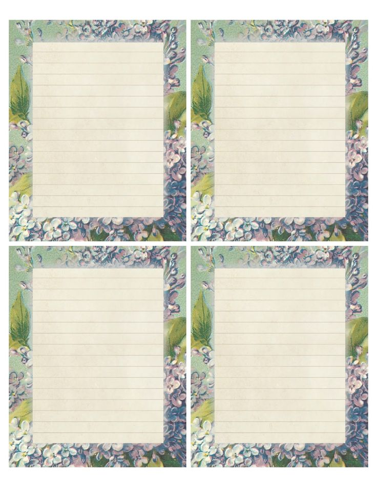 """""""A Song in Spring"""" ~ Printable sheet of lilac, lined 4""""x5"""" note papers."""