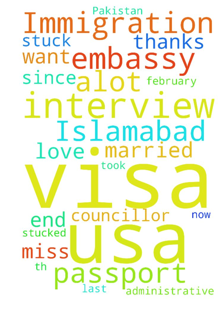My Immigration Visa stuck in USA embassy Islamabad Pakistan -  Hello Dear Father, I have been married with SashaUSA since 2014. My visa interview was on February 25th 2016. My interview went great and councillor took my passport at the end of my interview. But now my immigration visa has stucked in administrative processes for last 14 months in Islamabad USA Embassy. They have my passport. Please pray for my visa i want to join my wife in USA. I miss her alot i love her alot. GOD bless you…