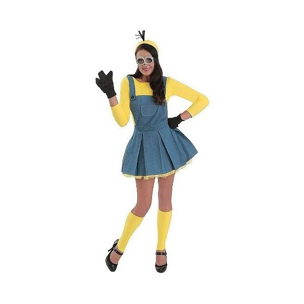 Women's Minions Jumper Costume ($54) ❤ liked on Polyvore featuring costumes, halloween, yellow, adult costumes, minion costume, adult halloween costumes, womens sports costumes and adult women costumes