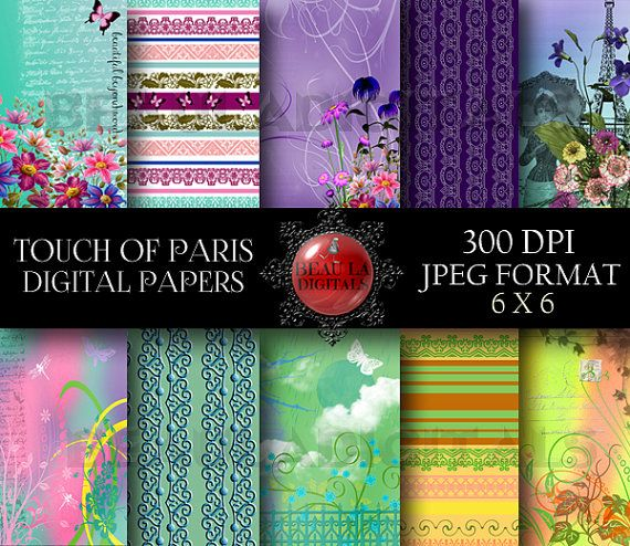 10 Touch of Paris Digital Papers for by Beauladigitals on Etsy