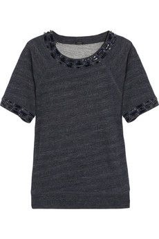 Crystal-embellished cotton-terry sweater.