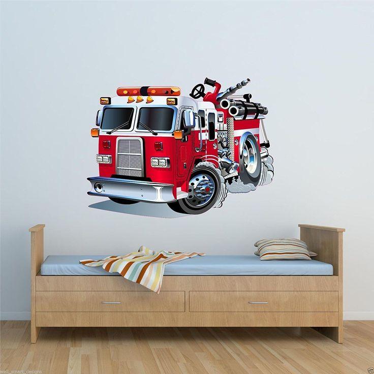 Wandtattoo Feuerwehrauto Dekoration Fur Ein Feuerwehrzimmer Mit Diesem Wandaufkleber Im Feuerweh Wandgestaltung Kinderzimmer Kinder Zimmer Madchen Badezimmer
