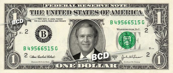 GEORGE BUSH on a REAL Dollar Bill President Cash Money Collectible Memorabilia Celebrity