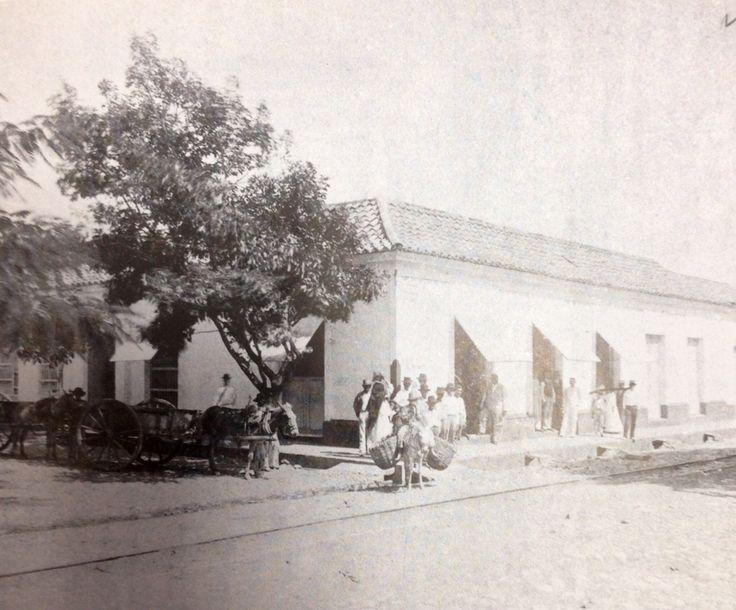 CALLE NARIÑO con carrera Santander. Esquina de la avenida 7a. Con calle 10. 1897. En esa época, el transporte urbano se hacía en carreteras de tracción animal y en burros y mulas. También se utilizaba el tranvía Municipal.