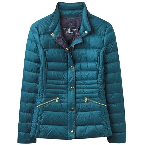 Women's Joules Warmheart Feather and Down Jacket ($78) ❤ liked on Polyvore featuring outerwear, jackets, blue down jacket, down feather jacket, joules jacket, zipper jacket and zip jacket