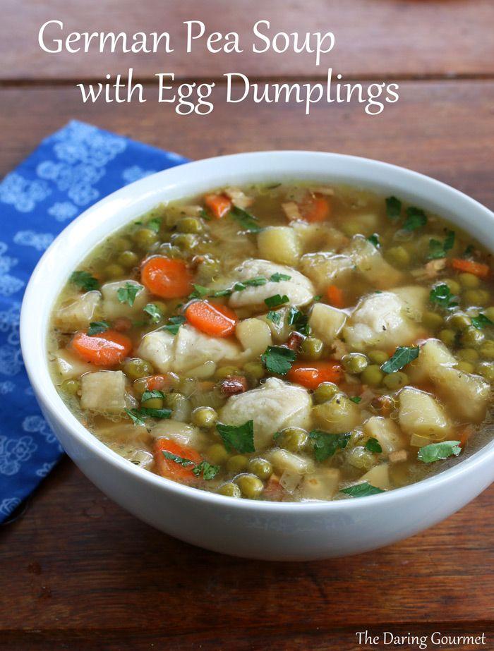 German Pea Soup with Egg Dumplings (Erbsensuppe mit Eierschwämmchen).  daringgourmet.com