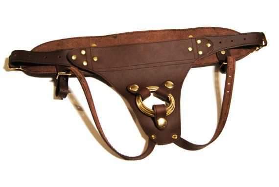 Strap On Harness Brown Leather Stitched  The by ProjectTransAction, $150.00