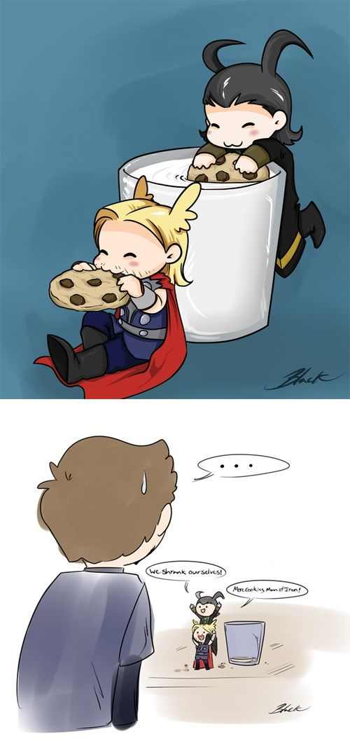 Mini Thor and Loki have cookies. Why are they allowed to be this adorable?