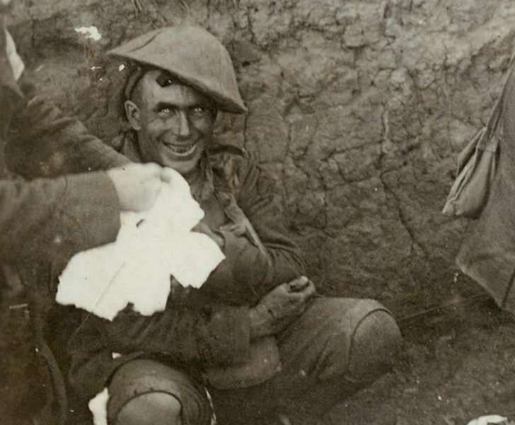 WWI soldier after a hellish fight...you can see the shell shock in his face, and the insane glimmer in his eyes...