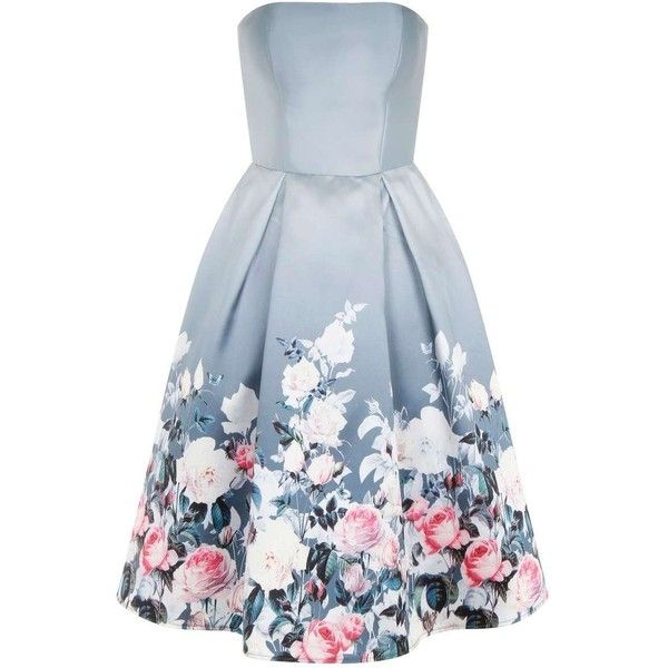 **Chi Chi London Floral bandeau midi dress ($99) ❤ liked on Polyvore featuring dresses, grey, gray floral dress, floral bandeau dress, flower pattern dress, grey floral dress and calf length dresses
