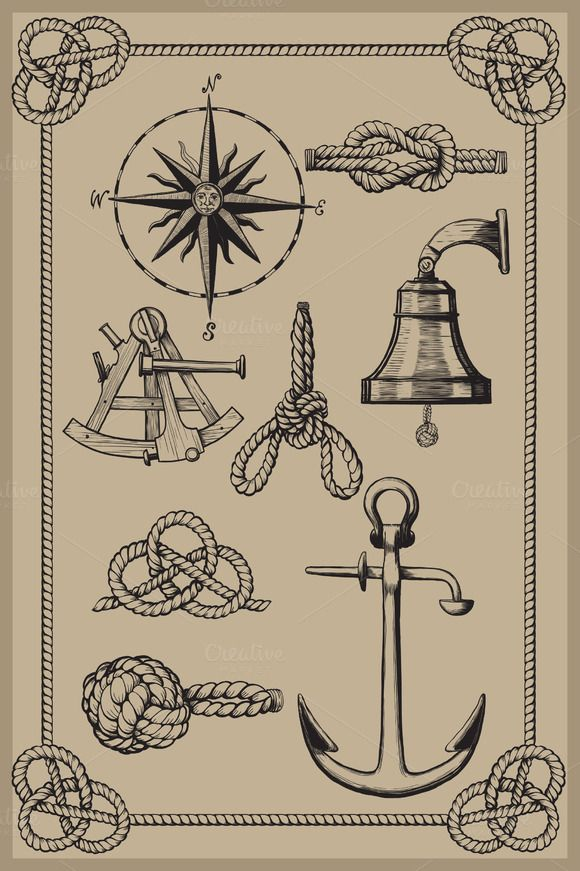 Check out Nautical elements on vintage backgro by sharpner on Creative Market